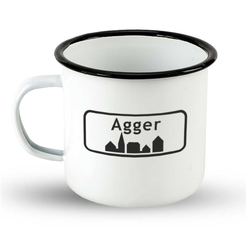 """Emailletasse Ortsschild Dänemark """"Agger"""""""