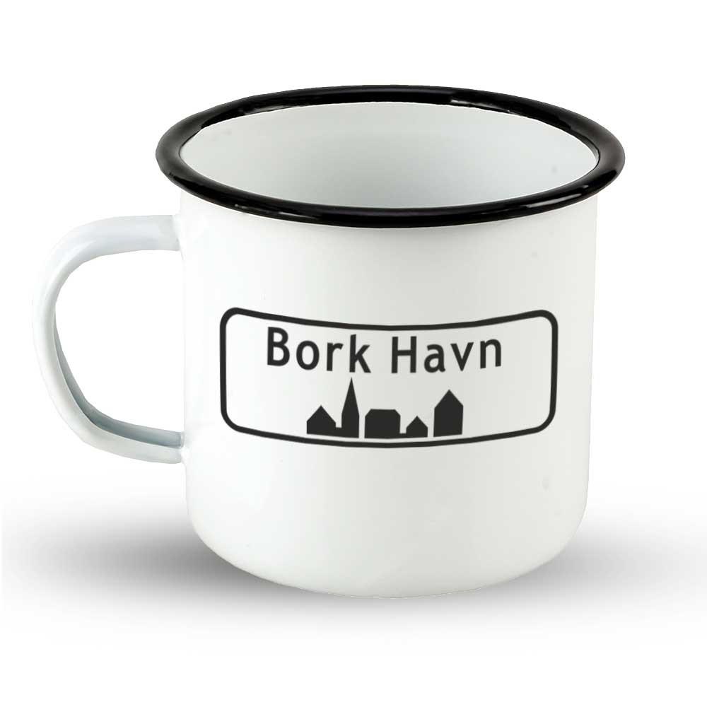 """Emailletasse Ortsschild Dänemark """"Bork Havn"""""""