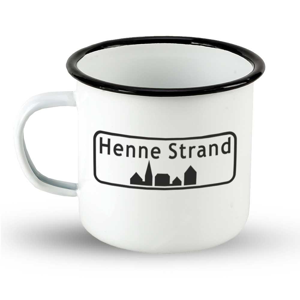 """Emailletasse Ortsschild Dänemark """"Henne Strand"""""""