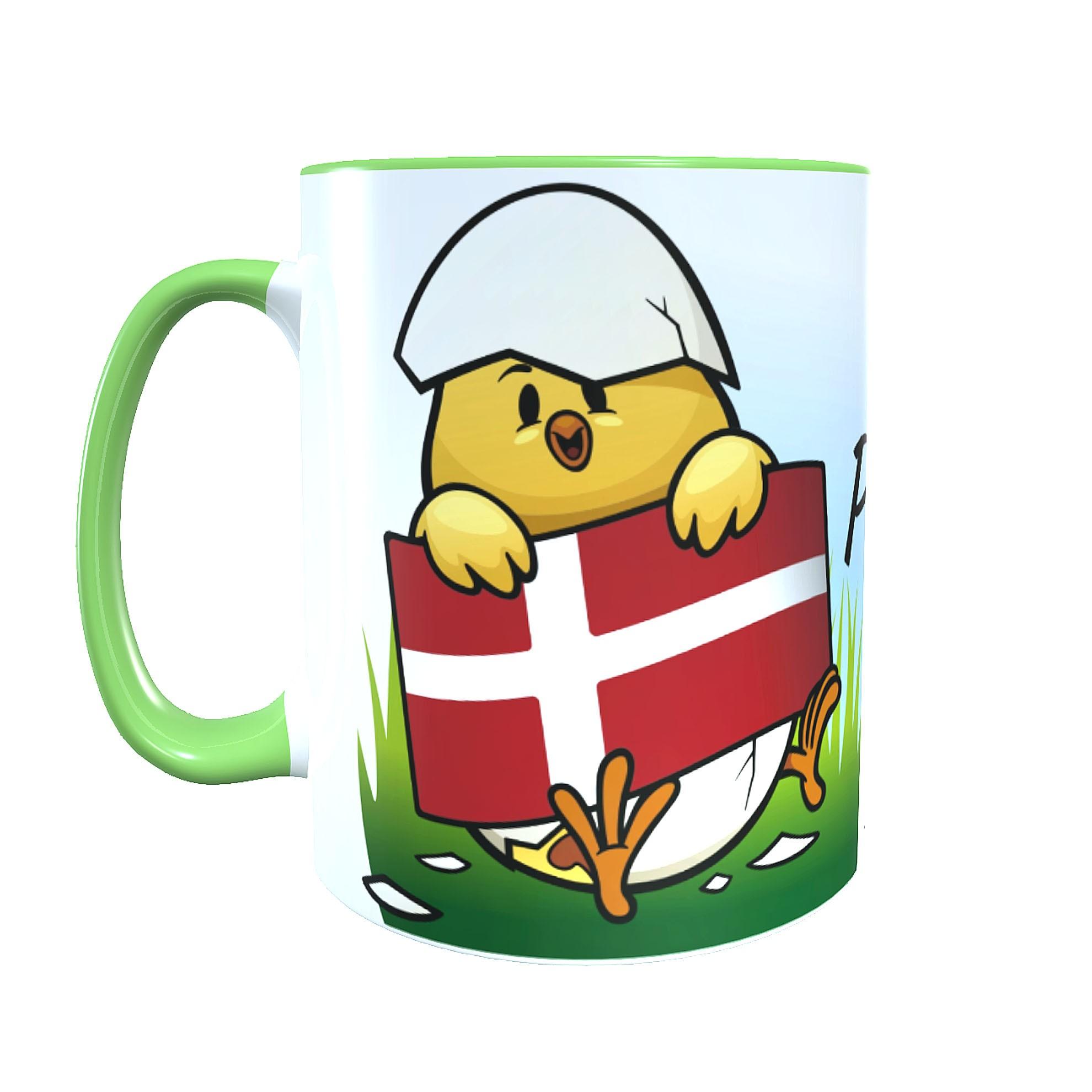 "Keramiktasse ""God Påske"" Motiv Küken Ostern Dänemark mit Wunschname"