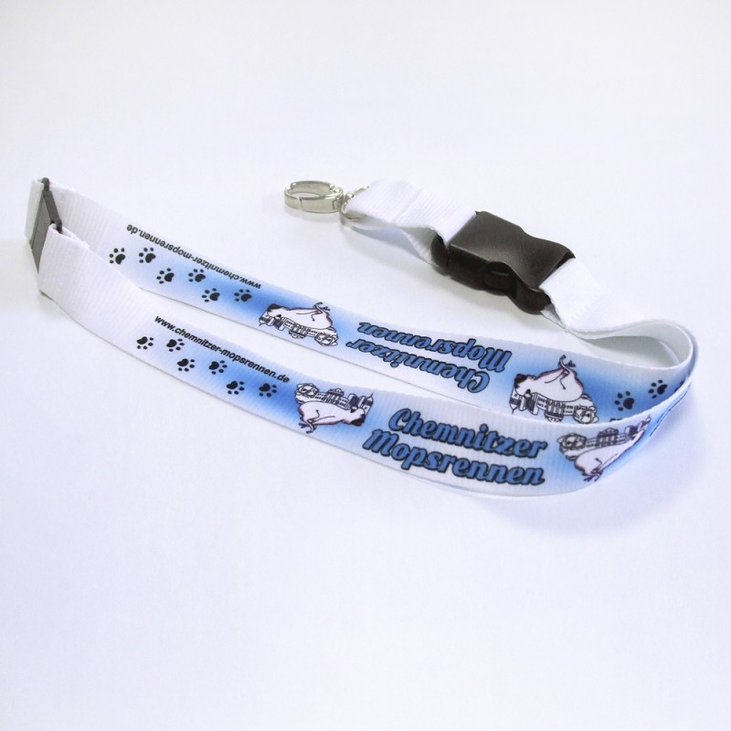 Mopsrennen Schlüsselband blau