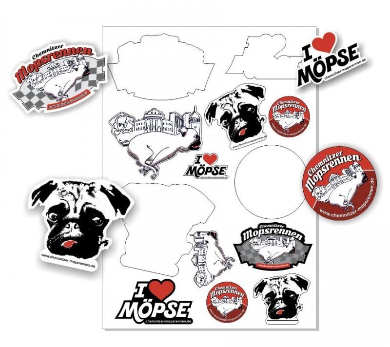 Mopsrennen Sticker-Set