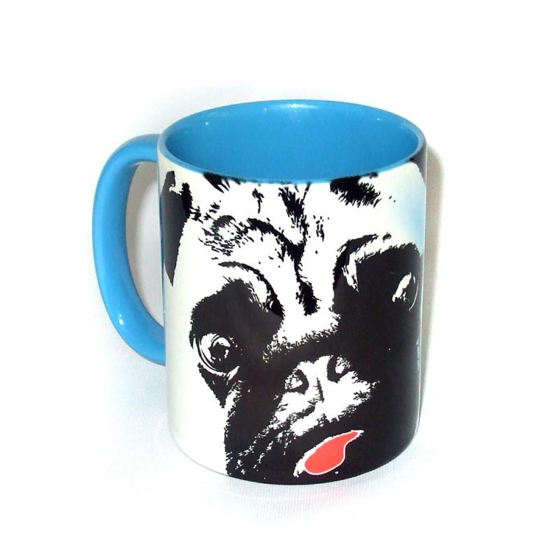 Mopsrennen Tasse blau Motiv 2