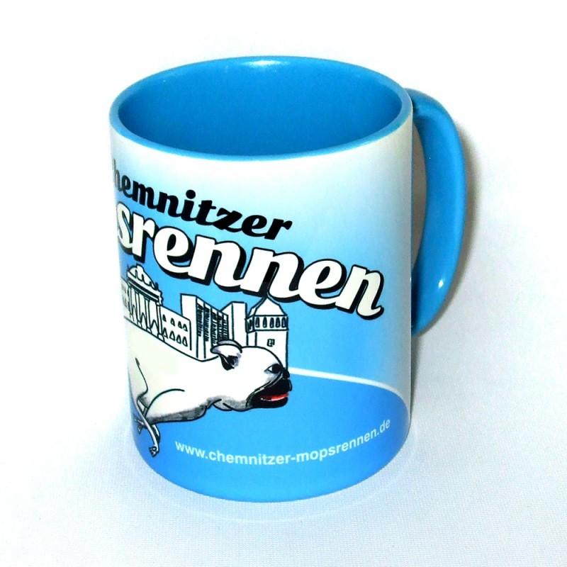 Mopsrennen Tasse blau Motiv 1