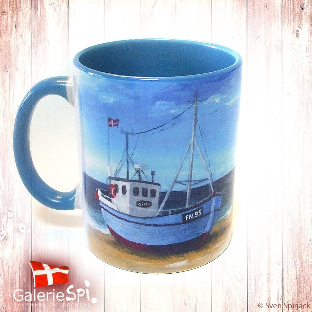 """Keramiktasse """"Skib på Stranden"""" Dänemark mit Wunschname"""