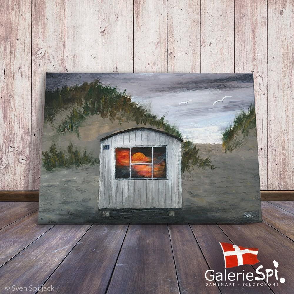 """Künstlerleinwand -  Motiv """"Strandhuset ved Solnedgangen"""""""