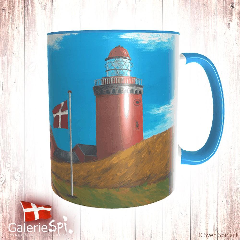 """Keramiktasse """"Bovbjerg Fyr"""" Dänemark mit Wunschname"""