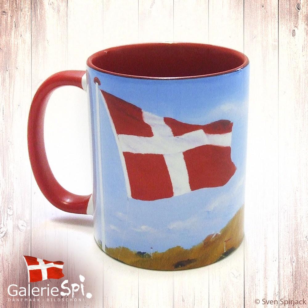 "Keramiktasse -  Motiv ""Dannebrog"" Dänemark"