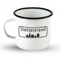 "Emailletasse Ortsschild Dänemark ""Slettestrand"""