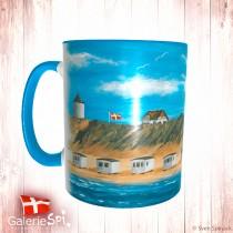 """Keramiktasse """"Badehuset på Løkken Strand"""" Dänemark mit Wunschname"""