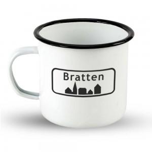 """Emailletasse Ortsschild Dänemark """"Bratten"""""""